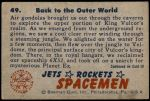1951 Bowman Jets Rockets and Spacemen #49   Back to the Outer World Back Thumbnail