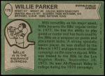 1978 Topps #176  Willie Parker  Back Thumbnail