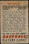 1951 Bowman #297  Dave Philley  Back Thumbnail