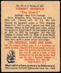 1949 Bowman #69  Tommy Henrich  Back Thumbnail