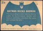 1966 Topps Batman Blue Bat Back #31   Batman Bucks Badman Back Thumbnail