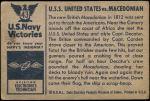 1954 Bowman U.S. Navy Victories #43   USS United States vs. Macedonian Back Thumbnail