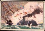 1954 Bowman U.S. Navy Victories #45   Merrimac Rams the Cumberland Front Thumbnail