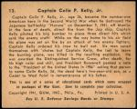 1941 War Gum #13   Captain Colin Kelly Jr. Back Thumbnail