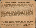 1941 War Gum #71   Doolittle Receives Congressional Medal Back Thumbnail