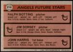 1981 Topps #214   -  John Harris / Ralph Botting / Jim Dorsey Angels Back Thumbnail