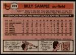 1981 Topps #283  Billy Sample  Back Thumbnail