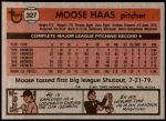 1981 Topps #327  Moose Haas  Back Thumbnail