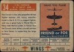1952 Topps Wings #34   F4U Corsair Back Thumbnail