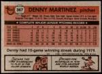 1981 Topps #367  Dennis Martinez  Back Thumbnail