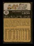 1973 Topps #287  Eddie Leon  Back Thumbnail