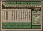 1979 Topps #570  Cesar Cedeno  Back Thumbnail