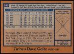 1978 Topps #249  Dave Goltz  Back Thumbnail