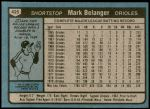 1980 Topps #425  Mark Belanger  Back Thumbnail