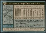 1980 Topps #442  Jorge Orta  Back Thumbnail