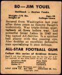 1948 Leaf #80 RED Jim Youle  Back Thumbnail