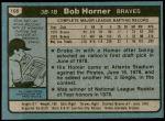 1980 Topps #108  Bob Horner  Back Thumbnail