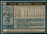 1980 Topps #464  John Denny  Back Thumbnail