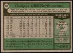 1979 Topps #668  Bill North  Back Thumbnail