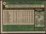 1979 Topps #160  Mike Flanagan  Back Thumbnail