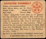 1950 Bowman #176  Sylvester Donnelly  Back Thumbnail