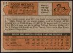 1972 Topps #217  Roger Metzger  Back Thumbnail