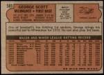 1972 Topps #585  George Scott  Back Thumbnail