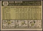 1961 Topps #375  Ken Boyer  Back Thumbnail