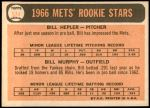 1966 Topps #574   -  Bill Hepler / Bill Murphy Mets Rookies Back Thumbnail