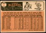 1966 Topps #496  Lindy McDaniel  Back Thumbnail