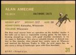 1961 Fleer #31  Alan Ameche  Back Thumbnail