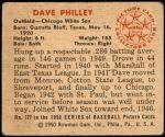 1950 Bowman #127  Dave Philley  Back Thumbnail