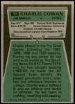 1975 Topps #92  Charlie Cowan  Back Thumbnail