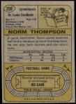 1974 Topps #259  Norm Thompson  Back Thumbnail