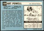 1964 Topps #150  Art Powell  Back Thumbnail
