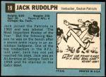 1964 Topps #19  Jack Rudolph  Back Thumbnail