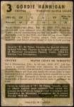 1953 Parkhurst #3  Gord Hannigan  Back Thumbnail