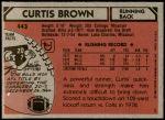 1980 Topps #443  Curtis Brown  Back Thumbnail