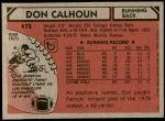 1980 Topps #472  Don Calhoun  Back Thumbnail