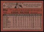 1982 Topps Traded #72 T Eddie Milner  Back Thumbnail