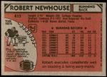 1980 Topps #413  Robert Newhouse  Back Thumbnail