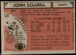 1980 Topps #397  John Sciarra  Back Thumbnail