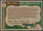 1976 Topps #70   -  Roy Smalley / Roy Smalley Jr . Father & Son Back Thumbnail