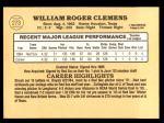 1985 Donruss #273  Roger Clemens  Back Thumbnail