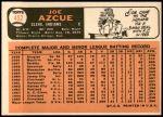 1966 Topps #452  Joe Azcue  Back Thumbnail