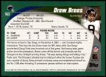 2002 Topps #163  Drew Brees  Back Thumbnail