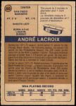 1974 O-Pee-Chee WHA #60  Andre Lacroix  Back Thumbnail