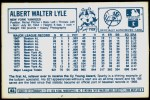 1978 Kellogg's #43  Sparky Lyle  Back Thumbnail