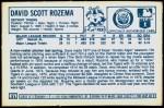 1978 Kellogg's #21  Dave Rozema  Back Thumbnail