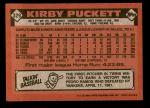 1986 Topps #329  Kirby Puckett  Back Thumbnail